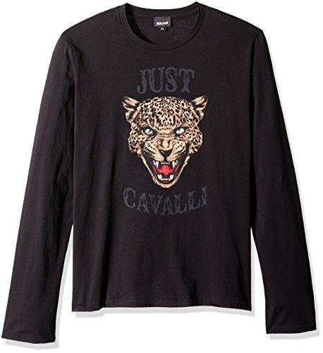 Just Cavalli Men's Animal Logo Long Sleeve, Black, Medium