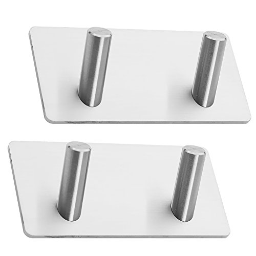 Two Prong Hook - MOISO 2 Pack of 3M Self Adhesive Hooks, Towel Rail, Hat Towel Robe Coat Stick-up Stainless Steel Hanger for Kitchen Bathrooms Lavatory Closets, Water and Rust Proof 2-Hooks
