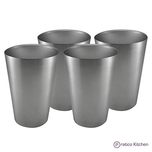 Pratico Kitchen Smooth Edge Stainless Steel Cups - Multi-purpose 16 oz Pint Glasses - 4 Pack