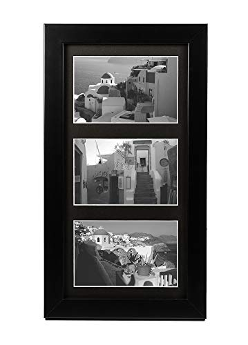- Golden State Art 7x14 Wood Frame for Three 4x6 Picture - Black with 3-Opening Black Mat Color - Portrait or Landscape Wall Mounting - Sturdy and Easy to Install - Real Glass Front (Black, Wood)