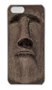 Easter Island Face PC Case Cover for iPhone 5 and iPhone 5s Transparent