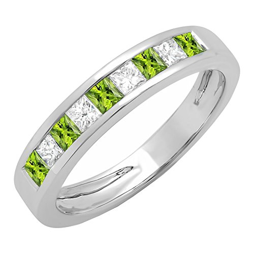 10K White Gold Princess Cut Peridot & White Diamond Ladies