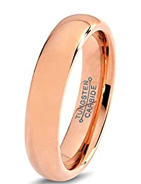 Tungsten Wedding Band Ring 5mm for Men Women Comfort Fit 18K Rose Gold Plated Domed Polished