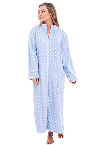 Alexander Del Rossa Womens Fleece Robe, Soft Zip-Front Bathrobe, 1X 2X Light Blue with White Dots (A0300P142X) ()