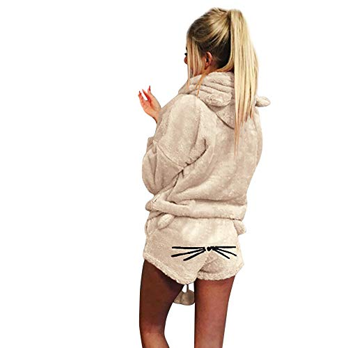 (Women Solid Color Hoodie Sleepwear Duseedik Lady Warm Winter Set Two Piece Cute Cat Pajamas)