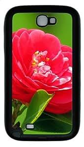 Red Camellia TPU Rubber Samsung Galaxy Note 2/ Note II/ N7100 Case Cover - Black