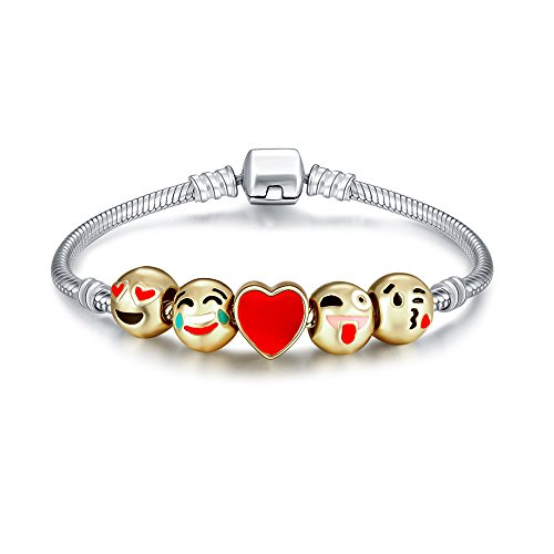 (Romano Stivali 18K Gold Plated Emoji Faces Charms Bracelets with Lobster Clasp Snake Chain (5 Charms, Regular))