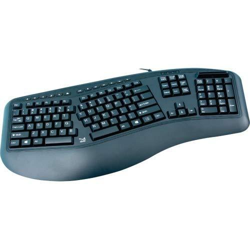 SMK-Link VP3827-TAA Ergonomic Keyboard with CAC Reader, Black