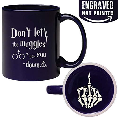 Funny Engraved Don't Let The Muggles Get You Down Middle Finger Skull Mug - 11oz Ceramic Tea Cup for Son Husband Boyfriend Coworker Boss ()