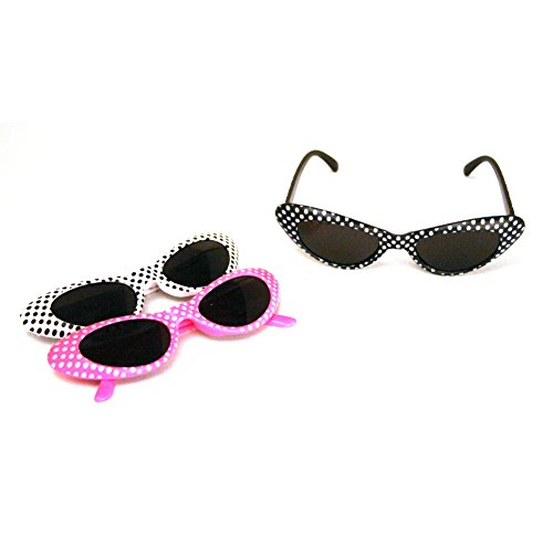 Retro Polka Dot Cat Eye Sunglasses (1 - Pack Novelty Sunglasses
