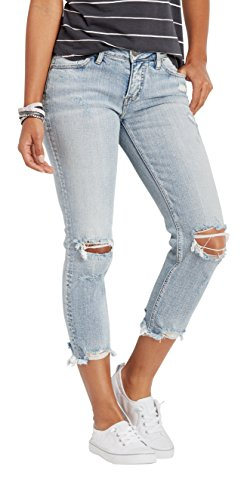 Silver Jeans Co. Women's Aiko Fit Mid-Rise Slim Crop Jeans, Light Destroyed Wash, 27x25 by Silver Jeans Co. (Image #2)