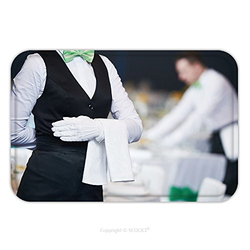 Flannel Microfiber Non-slip Rubber Backing Soft Absorbent Doormat Mat Rug Carpet Catering Service Waitress On Duty In Restaurant 464560847 for Indoor/Outdoor/Bathroom/Kitchen/Workstations