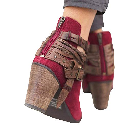 Women's Back Cut Boots Heel Stacked 1 Bohemia Vintage red V Booties Weave Ankle Zipper Buckle UwqFUr