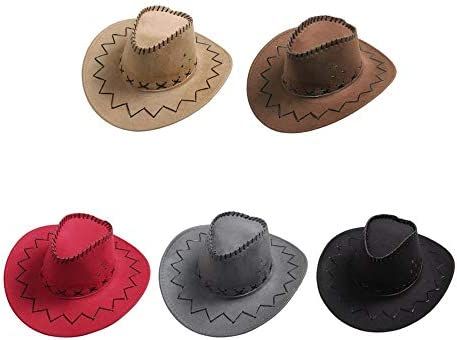 Black GreceMonday Fashionable Design Breathable Men Women Cowboy Style Hat Summer Outdoor Travel Cowgirl Cowboy Western Headwear Cap