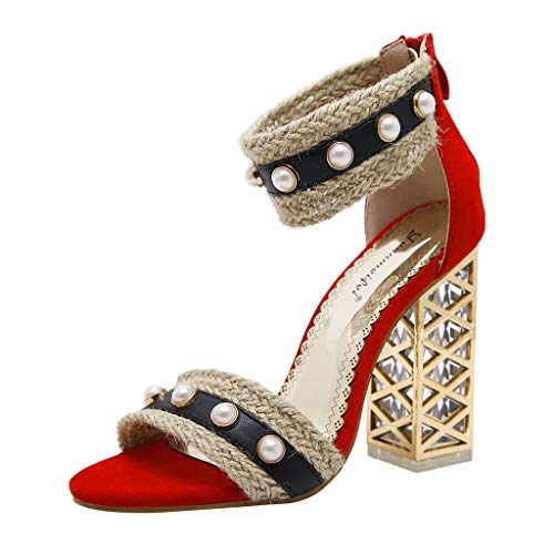 MmNote Women Shoes, Women's Pearls Hundreds Retro National Characteristics Gorgeous Fashion Stilettos Sandal