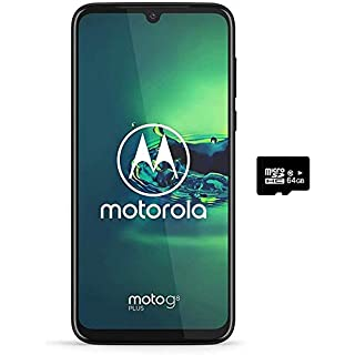 "Motorola Moto G8+ Plus (64GB, 4GB) 6.3"", 48 MP Camera, 4000mAh Battery, Dual SIM GSM Unlocked (AT&T/T-Mobile/MetroPCS/Cricket/H2O) XT2019-2 - International Version (Blue, 64GB + 64GB SD + Case Bundle)"