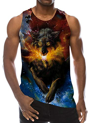 Mens 3D Printed Bro Guys Galaxy Wolf Tank Top Tees Holiday Beach Sleeveless Casual Cool Running Novelty T Shirts S (Best Shirts For Guys)