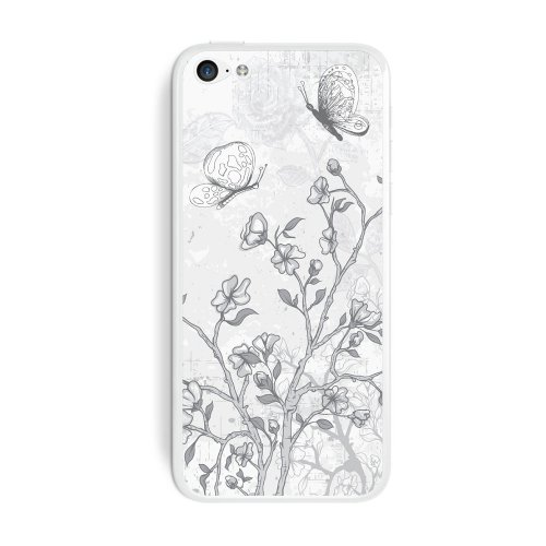 Graphics and More Vintage Butterflies Flowers Floral Sketch Protective Skin Sticker Case for Apple iPhone 5C - Set of 2 - Non-Retail Packaging - Opaque