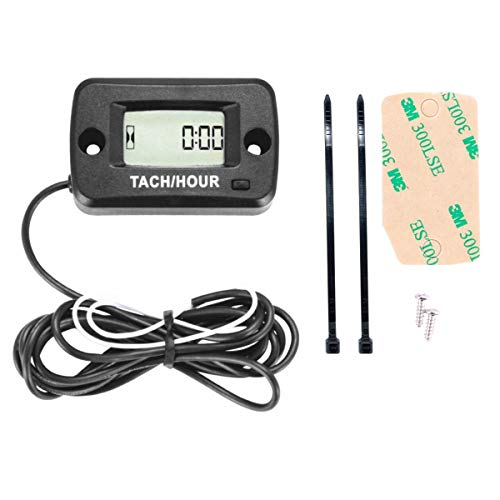 (SEARON Tach Hour Meter Tachometer 2 & 4 Stroke Small Engine Spark for Boat Outboard Mercury Motocross Lawn Mower Black)