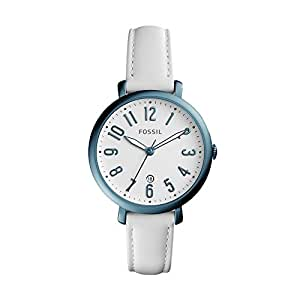 Fossil Women's 'Jacqueline' Quartz Stainless Steel and Leather Casual Watch, Color:White (Model: ES4203)