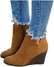 Boots Round Toe Rome Retro V Cutout Comfy Short Ankle Boots Flat Shoes Women's Fashion Casual Wedges Ankle