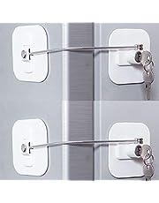 Fridge Lock,Refrigerator Locks,Freezer Lock with Key for Child Safety,Locks to Lock Fridge and Cabinets (White Fridge Lock)