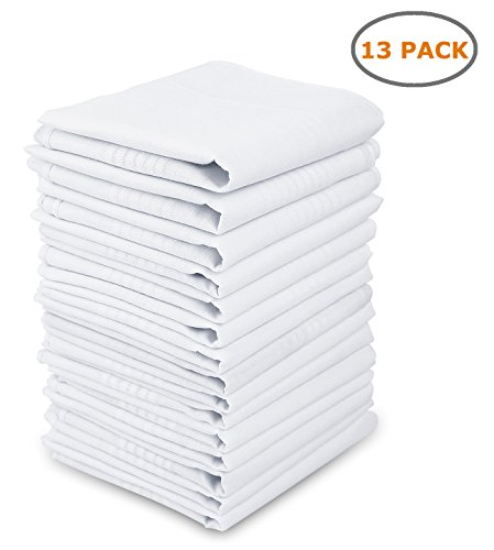 Cotton Handkerchiefs, Ohuhu 13 Pack 100% Pure Cotton White Pocket Square Hankies/Pocket Handkerchief For Men Women