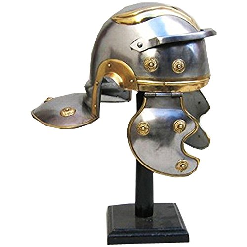 Handcrafted Roman Guard Helmet in SteelBrass Trim (Roman Steel Helmet)