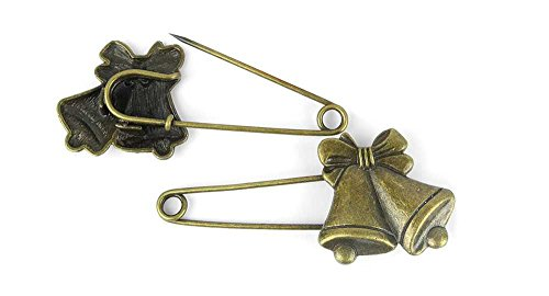 Christmas Brooches Pins Wholesale - 1x Anti-Brass Fashion Jewelry Making Charms A15576 Christmas Bells Pin Brooch Wholesale Supplies Pendant Retro DIY Craft Alloys Lots Repair Jewellery Findings