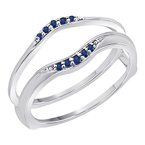 - Sterling Silver Finish Delicate Combination Curved Style Vintage Wedding Ring Guard Enhancer with CZ Blue Sapphire (1/6 ct. tw.)