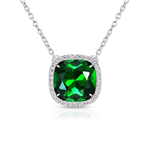 Swarovski Crystal Stone (Alantyer Best Wishes Birthstone Necklace Made with Swarovski Square Crystal Birthstone Pendant Birthday Valentines Mothers Day Jewelry Gift for Women and Girl (Emerald))