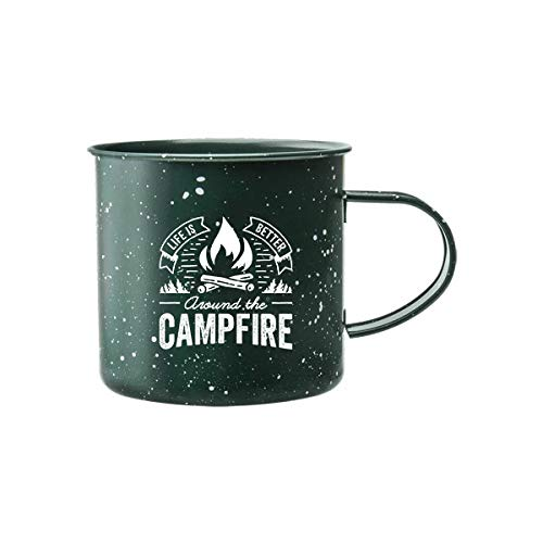 Life is Better Around the Campfire Tin Enamel Camping Coffee Mug (Forest Green, 16 Ounce)