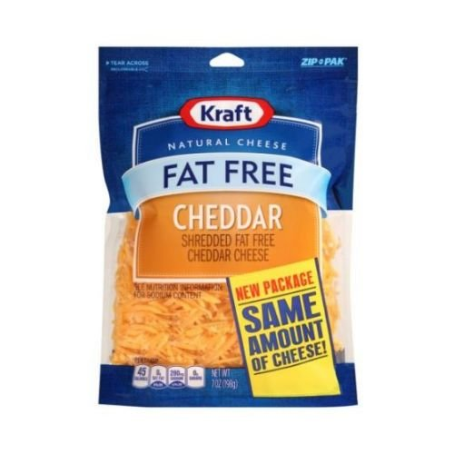 Kraft Zip Pak Natural Shredded Fat Free Cheddar Cheese, 7 Ounce -- 12 per case. by Kraft