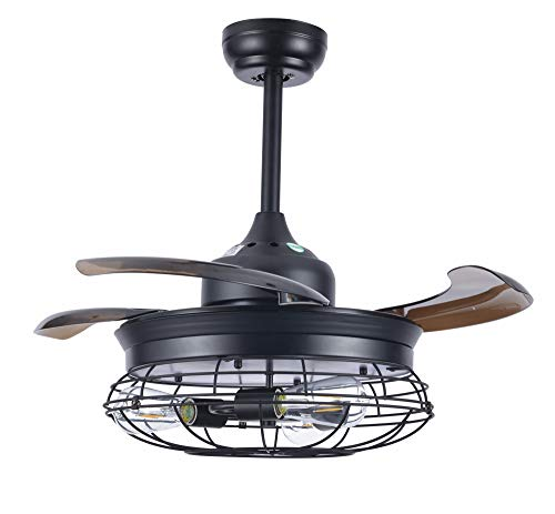 "36"" Black Modern Industrial Retractable Ceiling Fan with Remote Control, 3 Lights"