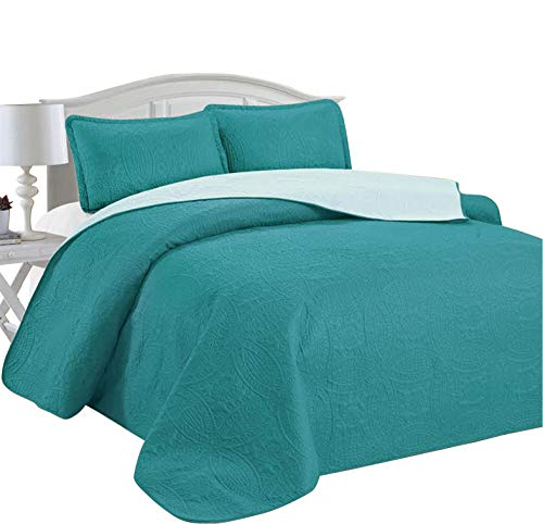 Home Sweet Home Victoria Design Reversible 3 PC Quilt Bedspread Sets (King, Teal/Aqua) (Quilts Coverlets Aqua)