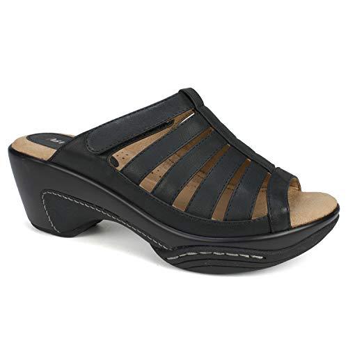 (RIALTO Shoes Valencia Women's Sandal, Black/Burn/Smooth, 9 M)