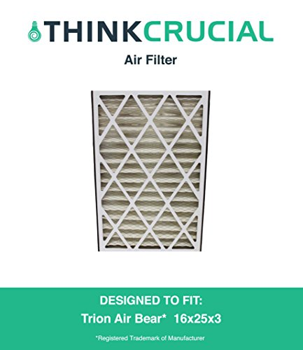 """1 Replacement Pleated Furnace Air Filter, Compatible with Trion Air Bear 255649-101 Pleated Furnace Air Filter 16x25x3 (16"""" x 25"""" x 3"""") Merv 8, by Think Crucial"""