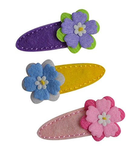 Spring Blossom No Slip Felt Wrapped Funny Girl Designs Hair Clip Set for Babies and Toddlers (Spring ()