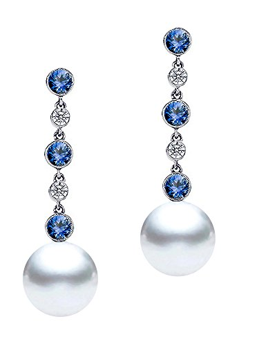 9-10mm White South Sea Cultured Pearl Dangle Earrings AAAA Quality 18k White Gold with Diamonds and Sapphires ()
