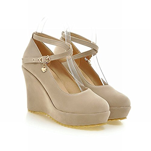 Latasa Womens Fashion Faux Nubuck Cross-srap Platform High Wedge Heel Casual Dress Pumps Shoes Apricot z19zU