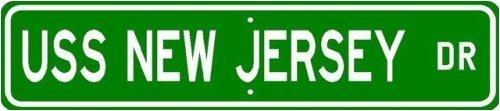 USS NEW JERSEY BB 16 Street Sign - Navy Sticker Decal Wall Window Door Art Vinyl Street Signs - 22