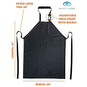 """Waterproof Rubber Vinyl Apron - 35"""" Upgraded 2018 Light Model - Best for Staying Dry When Dishwashing, Lab Work, Butcher, Dog Grooming, Cleaning Fish, Projects - Industrial Chemical Resistant Plastic"""