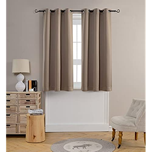 MYSKY HOME Grommet Top Thermal Insulated Window Blackout Curtains, 42 X 63  Inch, Taupe, 1 Panel