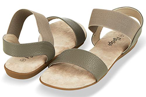 Floopi Sandals for Women | Cute, Open Toe, Wide Elastic Design, Summer Sandals| Comfy, Faux Leather Ankle Straps W/Flat Sole, Memory Foam Insole| (10, Grey-514) ()