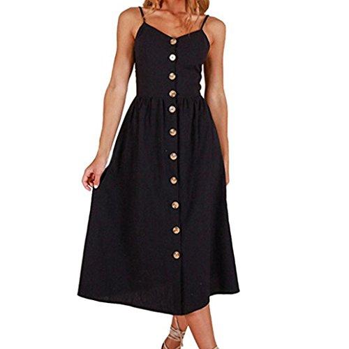 Kleider Damen Voberry Frauen Blume Druckknöpfe aus Schulter ...