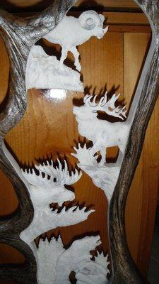Moose Antler Carving, Alaska Big 4 With Eagle Head Carving and Antler Base 20 - 24