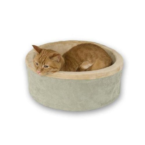 K & H Washable, Cozy Soft Thermo Kitty Heated Cat Bed - Small / Sage (Kitty Thermo Heated Cat)