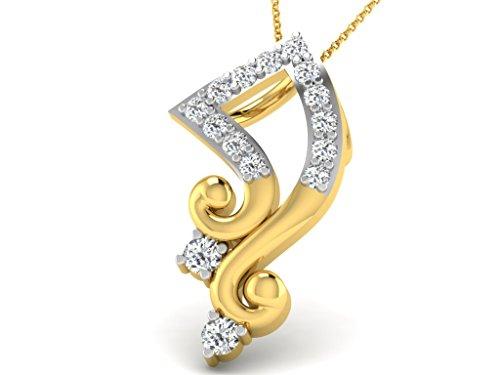 Or Jaune 14 ct Pendentifs Diamant en forme de Signe de la musique, 0.14 Ct Diamant, GH-SI, 0.74 grammes.