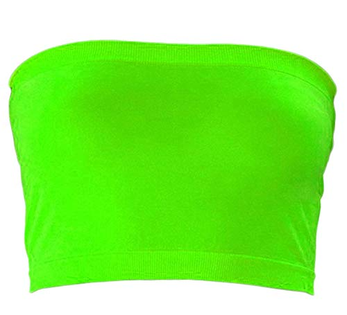 KMystic Stretch Seamless Tube Bra Bandeau Top (One Size, Neon Green)