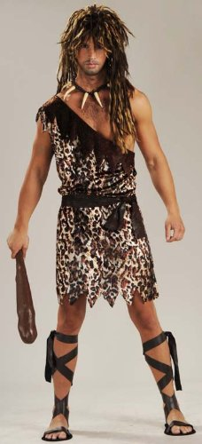 Men's Stone Age Style Cave Stud Costume, Animal Print, One Size - Deluxe Adult Caveman Costumes